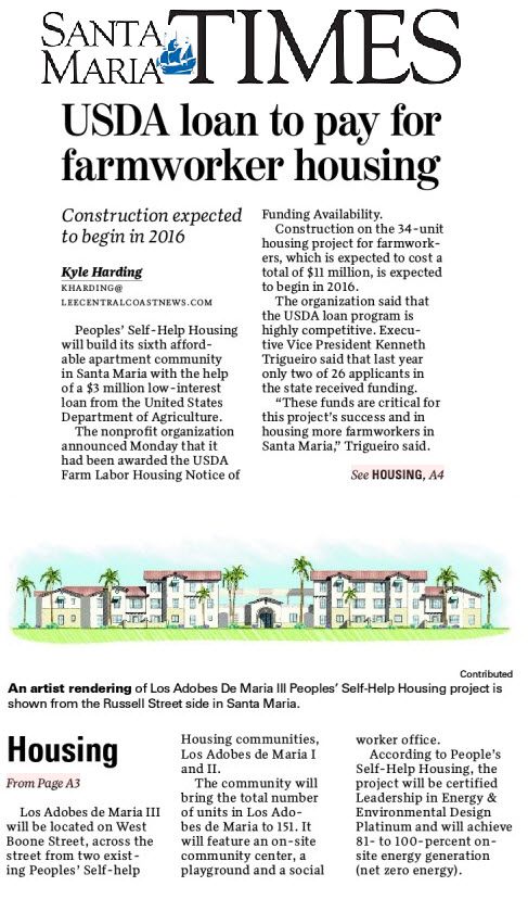 USDA loan to pay for farmworker housing - Santa Maria Times