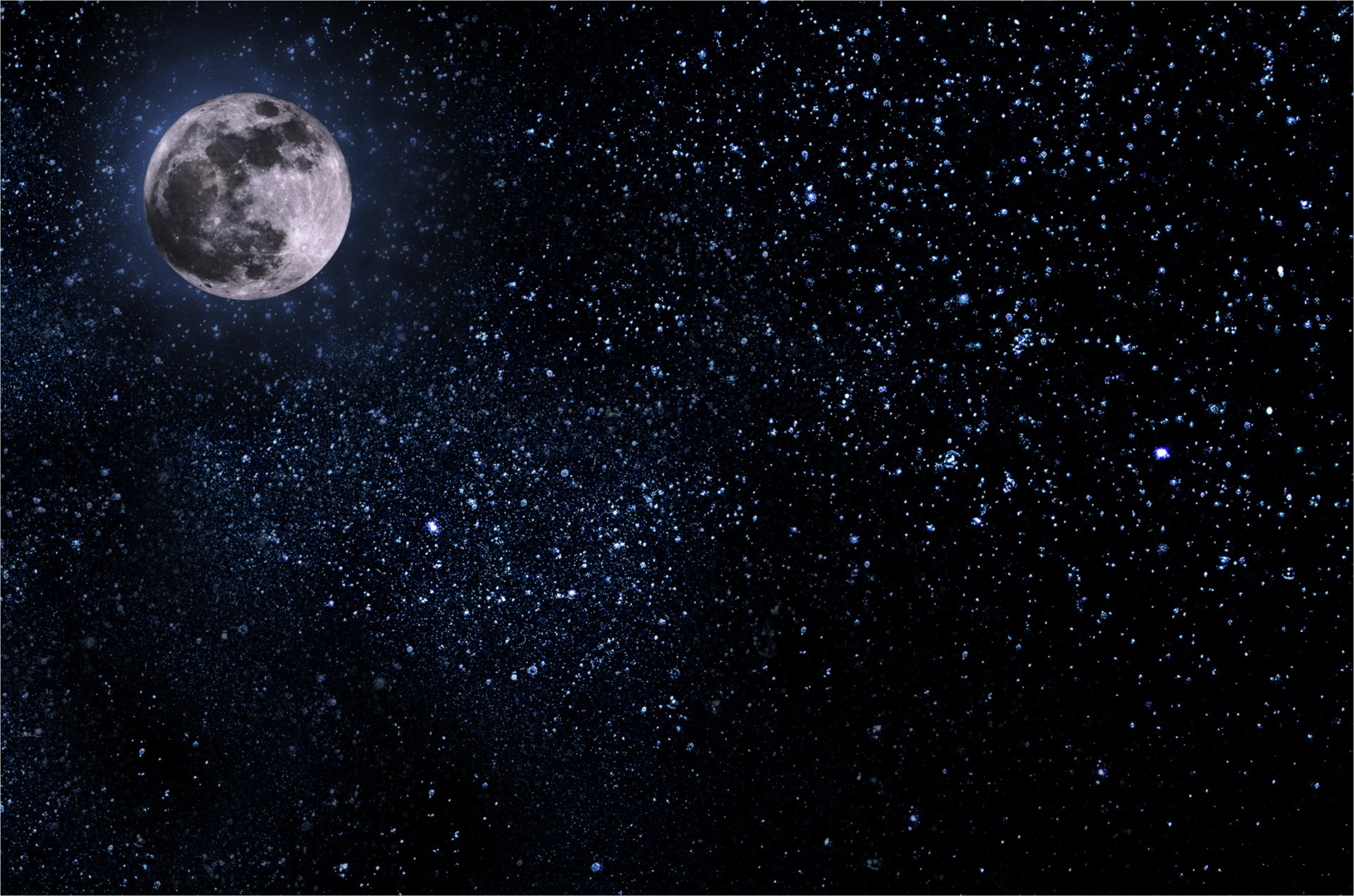 A picture of the moon in a starry sky.