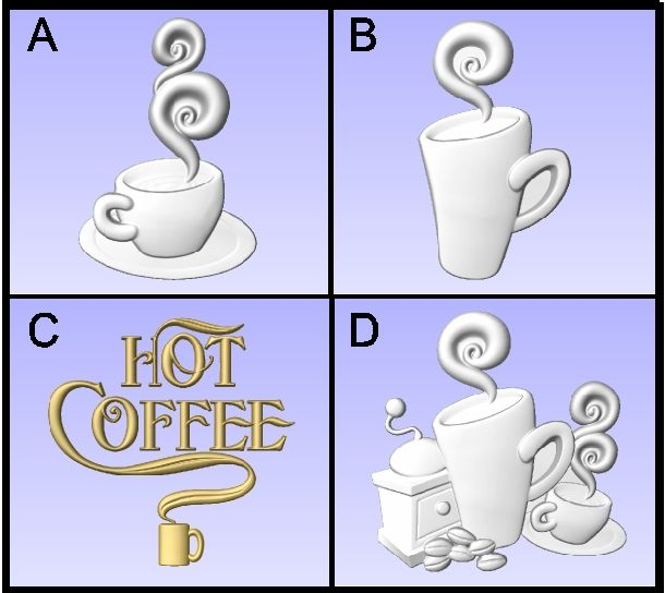 Q25906 - 3-D Coffee Cup Carvings for Coffee Shop Signs