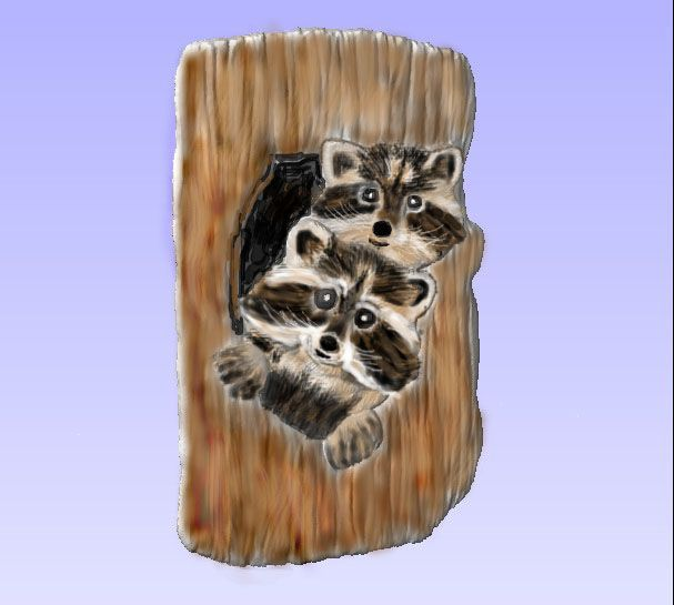 M2992 - Carved Raccoons in a Tree, painted enamels (Gallery 21)