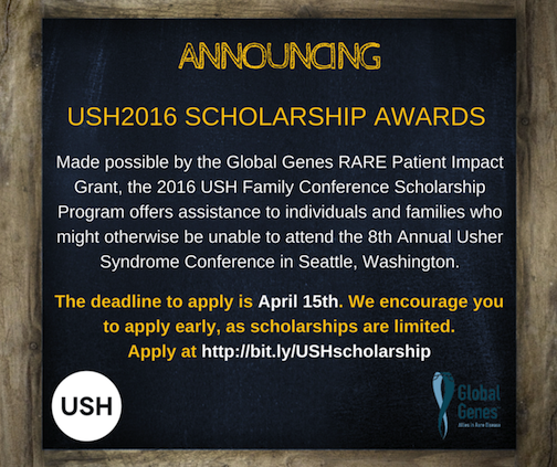 A picture of gold and white words written on a black background announcing the USH2016 Scholarship Awards.