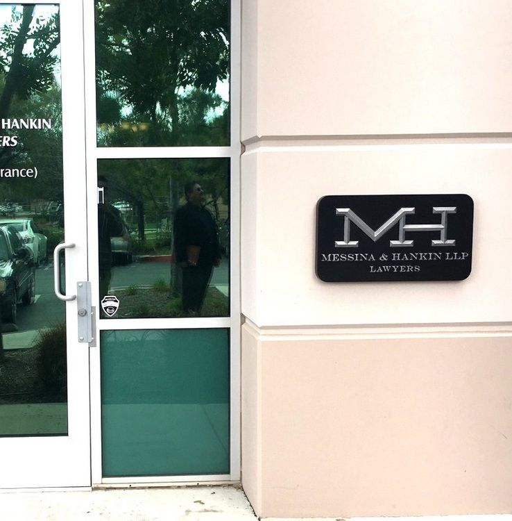 A10004 - Aluminum-Coated Carved HDU Wall Sign for Law Firm Messina and Hankin,  with Logo
