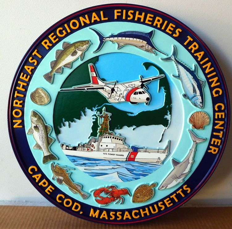 V31979 - Large Carved  Wall Plaque for the US Coast Guard Northeast Regional Fisheries Training Center, with Cutter and Marine Life