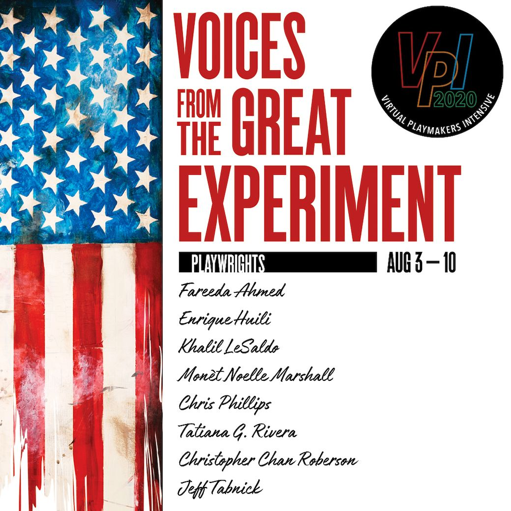 A picture of the voices from the great experiment logo. There's a horizontal, shredded American flag. The 2020 VPI logo is on the top right.