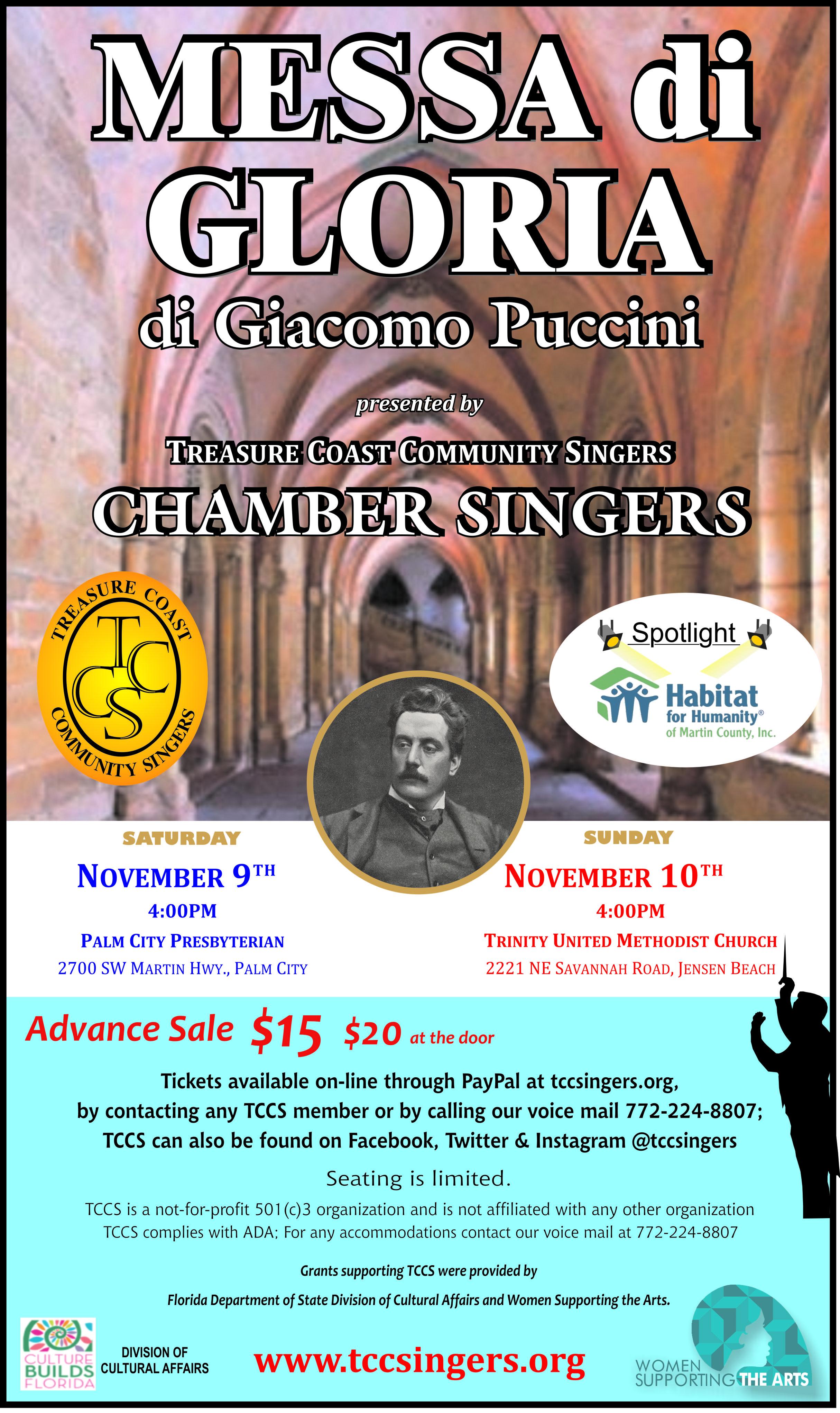 Treasure Coast Community Singers Chamber Singers presents Messa di Gloria