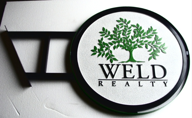 SA28516 - Realty Sign with Tree as Artwork and Side-Mounted  Iron Frame