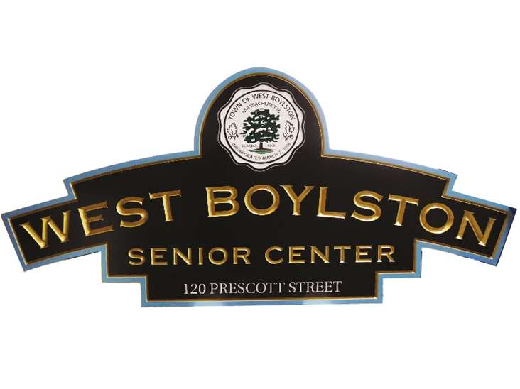 F15575 - Engraved Entrance  Sign  for the West Boylston Senior Center