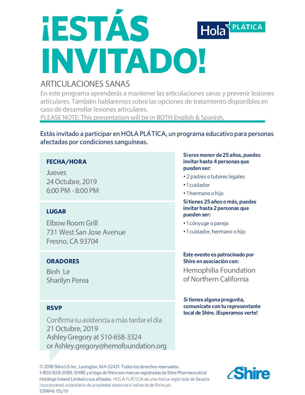 Joint Health Education English/Spanish  Fresno Dinner