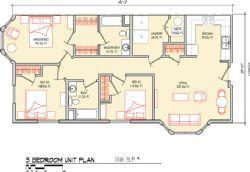 3 Bedroom 1116 SF