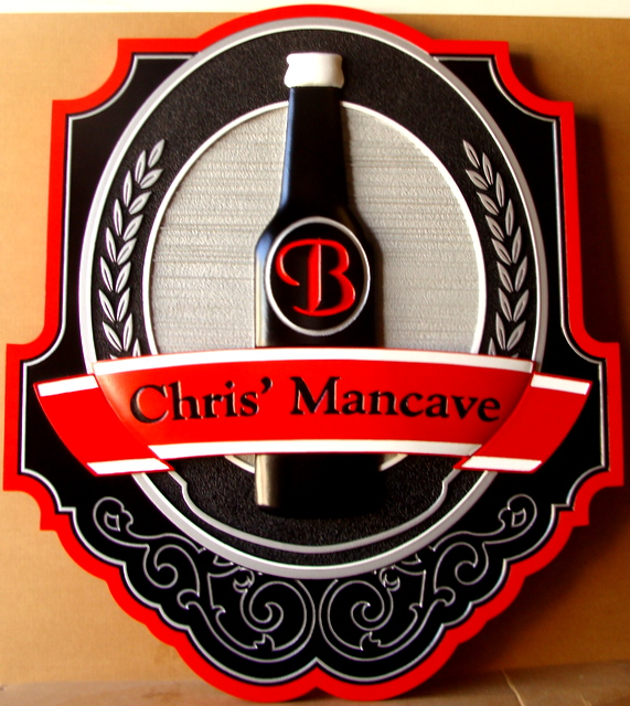 """Y27116 - Carved and Sandblasted Wood Grain 3-D Sign for a Home Bar,  """"Chris' Man Cave"""""""