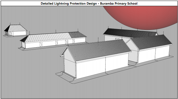 Buramba School 2016 building layout and overview of lightning protection system