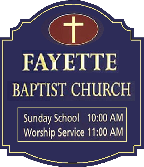 D13111 - Carved Wood Sign for Baptist Church with Times for Sunday School and Worship Service and Carved Cross and Borders