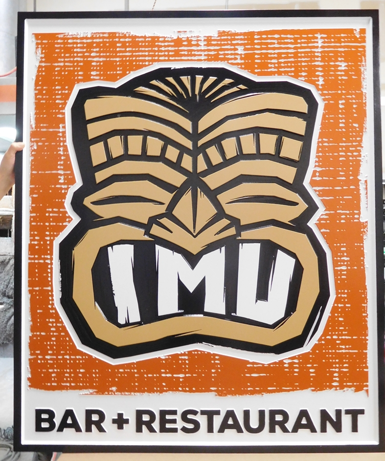 "RB27226 - Polynesian Style Sign ""IMU"" for Bar and Restaurant, with Tiki Statue as Artwork"