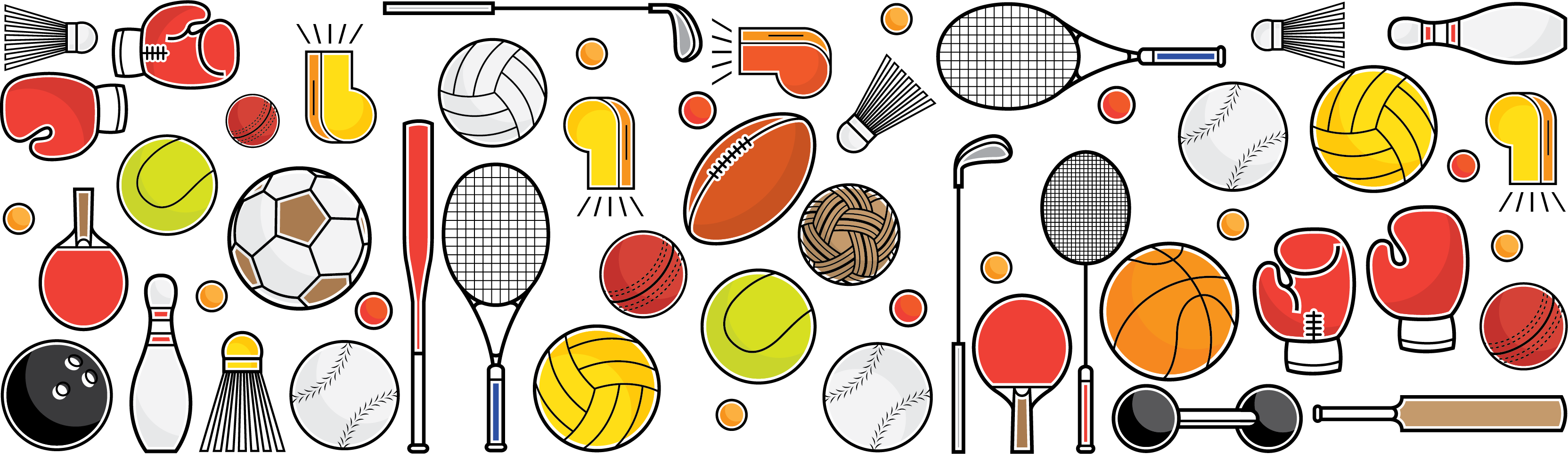 Graphic collage of different types of sports equipment