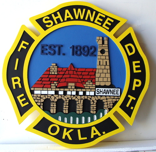 X33594 - Detailed View of  Shawnee Fire Department Wooden Wall Plaque