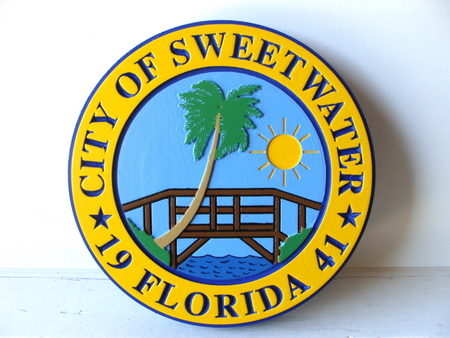 X33214 - 2.5D Carved High-Density-Urethane wall Plaque of the City of Sweetwater, Florida