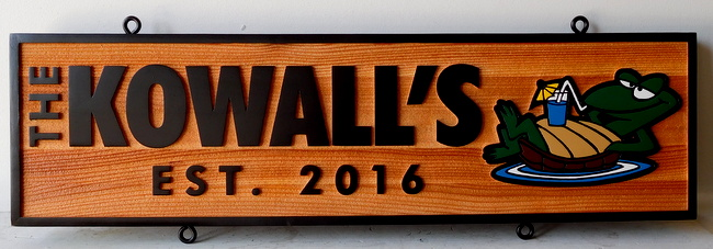 "I18950 - Sandblasted Cedar Wood residence Name Sign ""Kowall's"" , with a Frog as Art"