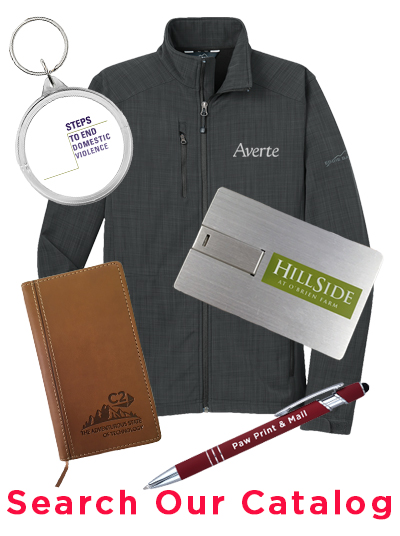 branded promotional products collage featuring man in blue polo, blue grocery bag, red travel mug and orange pen