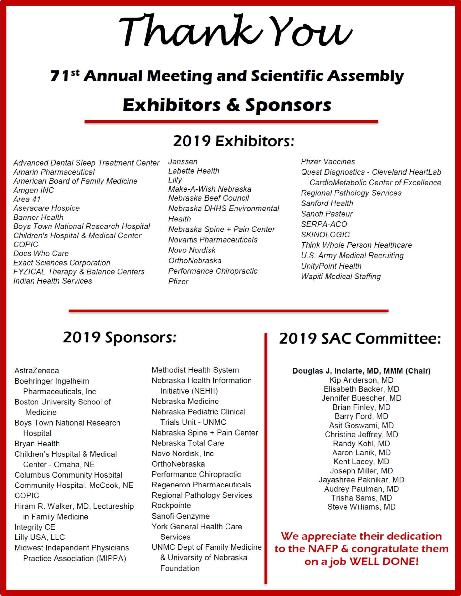Thank You to ASA Exhibitors & Sponsors