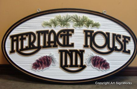 "M22124 - Mountain Inn Sign ""Heritage House""  with Pinecones"