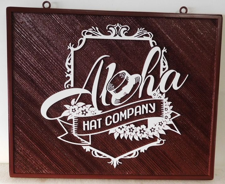 """S28036 -  Carved and Sandblasted Cedar Wood Hanging Commercial Sign for the """"Aloha Hat Company"""" , 2.5-D Artist-Painted"""