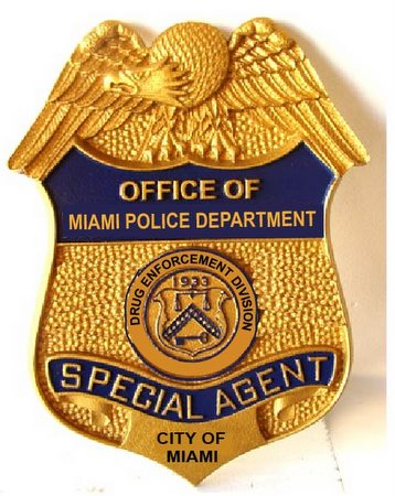 PP-1460 - Carved Wall Plaque of the   Badge of  Special Agent, Miami Police Department,   Painted Metallic Gold