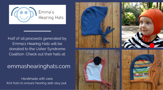 An advertisement for Emma's Hearing Hats. Four pictures of the hats next to the words. One picture is of a little girl wearing an orange hat.