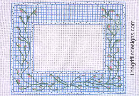 Blue and White Check with Vine Frame