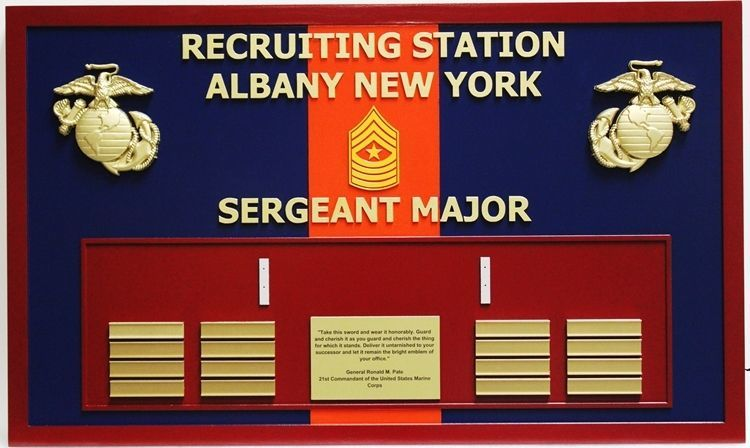 KP-2503 - Carved Command Board for USMC Recruiting Station Albany New York