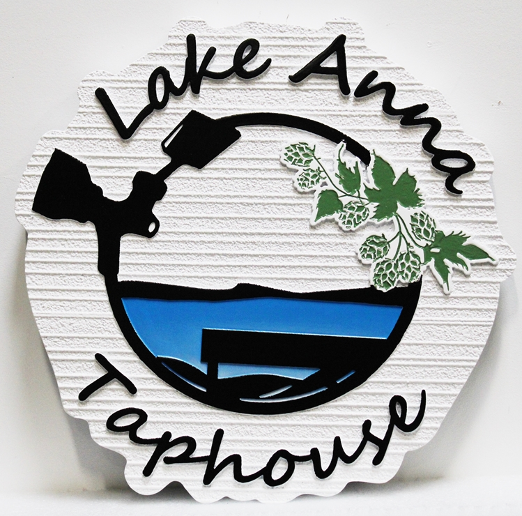 "RB27219 - Carved and Sandblasted Wood Grain  HDU Sign for the ""Lake Anna Taphouse"" , with the Lake and a Bench as Artwork"