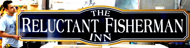 """L21954 -  Large Carved HDU  Sign for the   """"The Reluctant Fisherman Inn""""."""