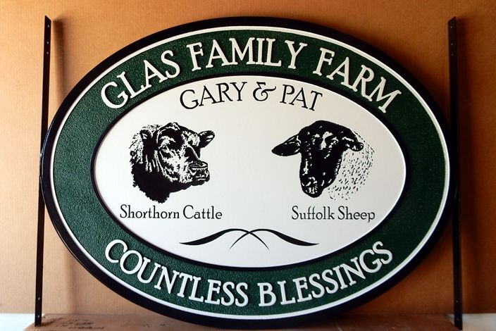 O24106 - Carved HDU Sign for the  Glas Family Farm, with Cattle and Sheep Artwork
