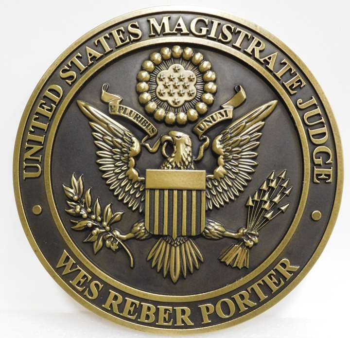 FP-1435- Carved Plaque of the Seal  of the US Magistrate Judge, Brass Plated
