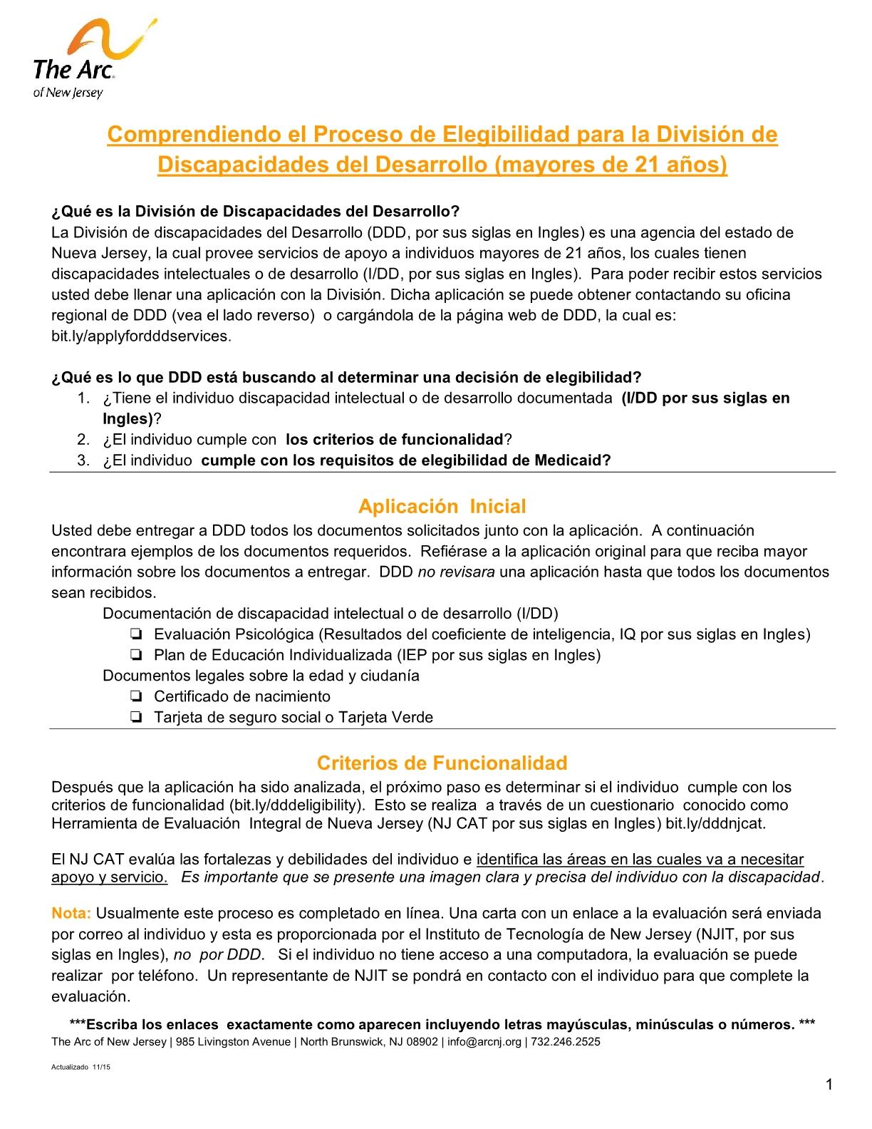 Spanish - Understanding DDD's Determination of Eligibility Process