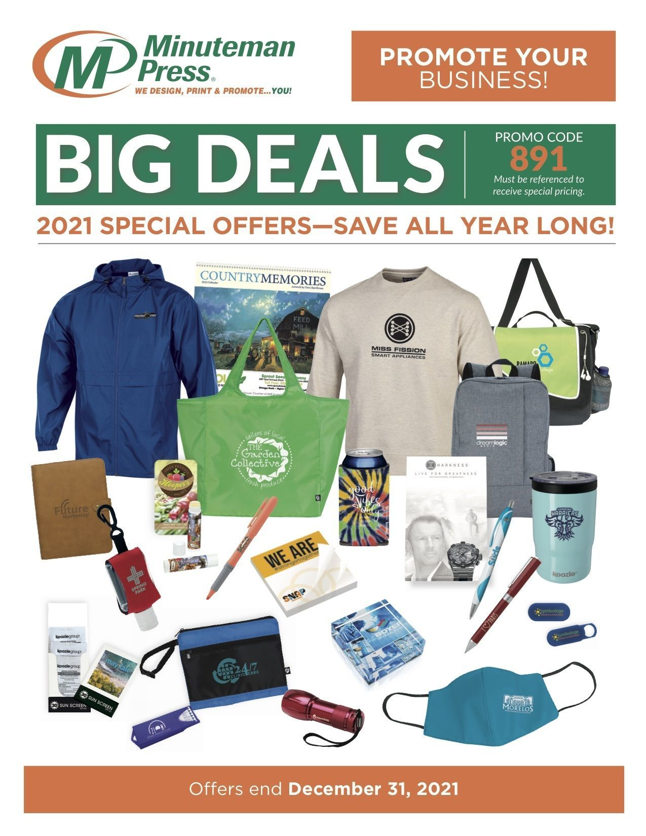 Promote your business and save all year on Minuteman Press Champaign promotional items. Call us at 217-355-0500 for information on our database of thousands of products designed to help you promote your business, reward employees