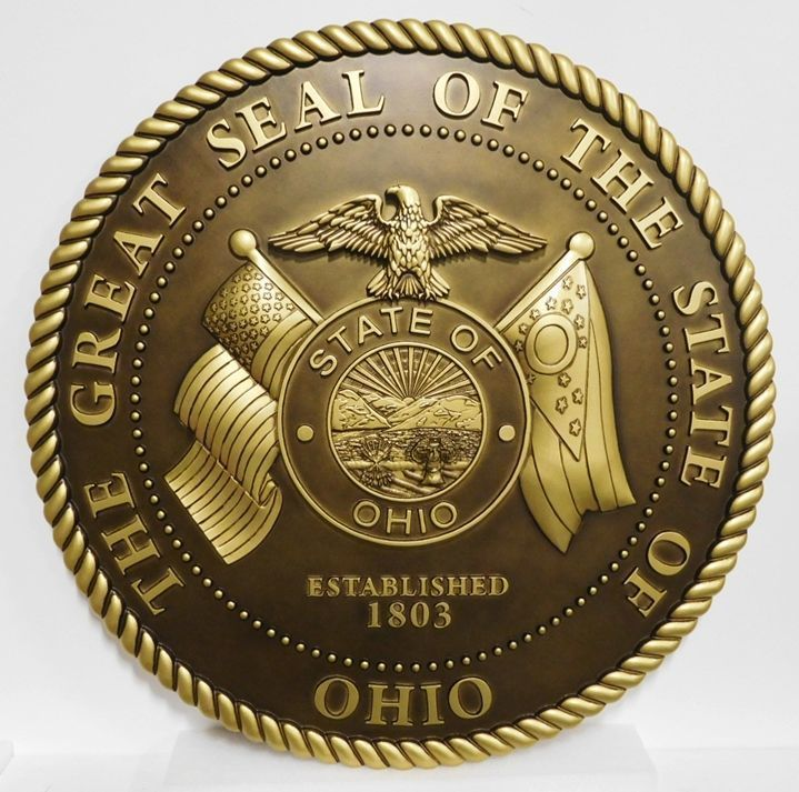 W32408 -Carved  3-DBrass-plated  Plaque of the Great Seal of the State of Ohio
