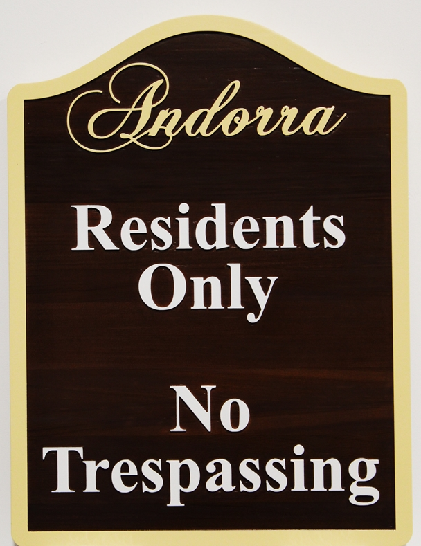 """KA20600 - Carved Cedar Wood """"Residents Only"""" Sign, for Andorra Residential Community,"""
