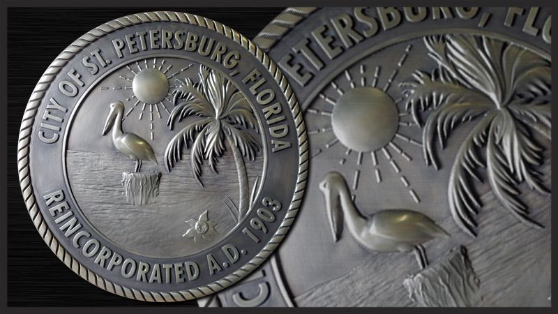 M7260 - Carved 3D Stainless Steel Plaque of the Seal of the City of St. Petersburg, Florida.