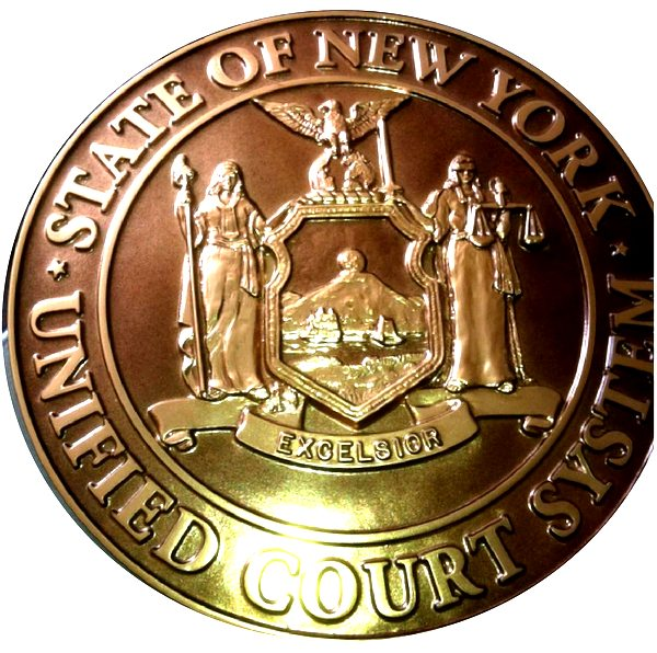 W32371D –Carved 3D Bronze-Coated Great Seal of the State of New York, for Unified Court System