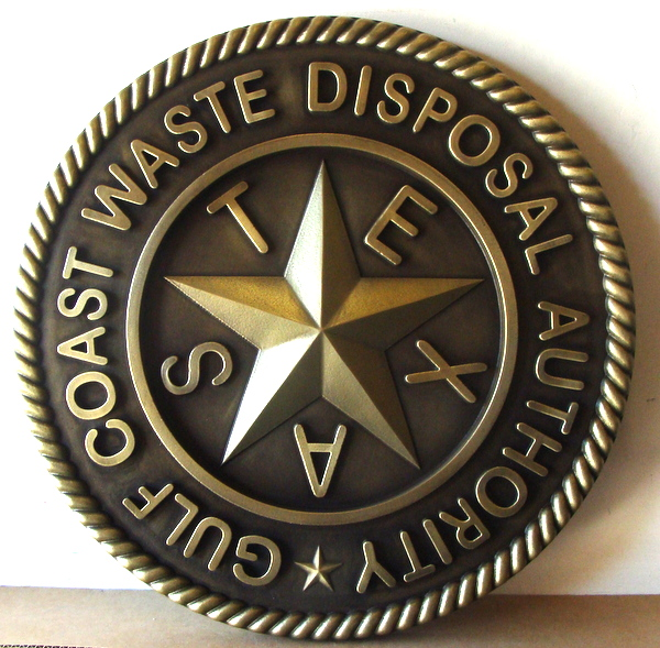 W32484 - 3-D Carved Brass Plaque for Gulf Coast Waste Disposal District, Texas