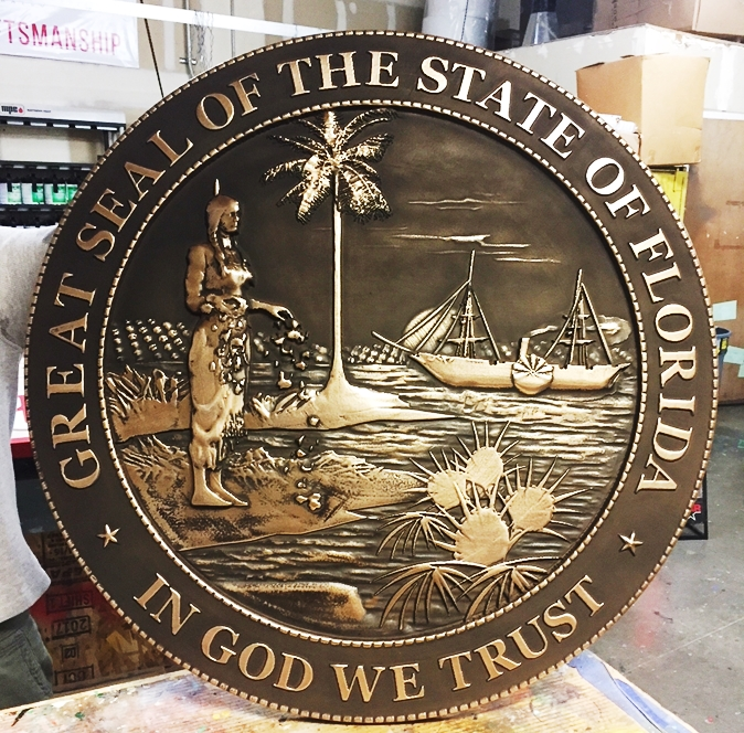 BP-1165 - Carved Plaque of the Seal of the State of Florida (Old Style), Brass-plated and Hand-rubbed Brown