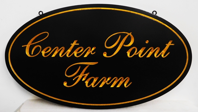 "O24044 - Formal  Engraved  Sign for ""Center Point Farm"", with  24K Gold Leaf Gilded Text"