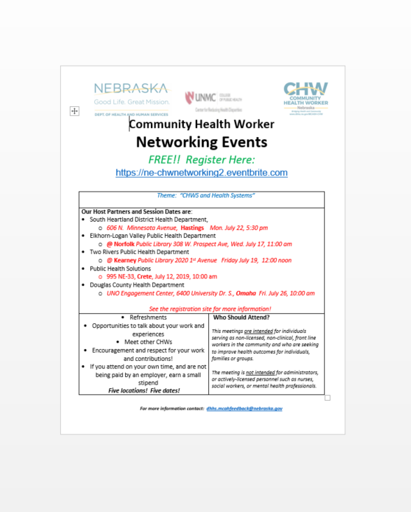 Community Health Worker Networking Event