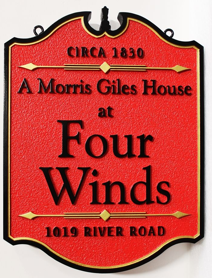 "F15953 - Carved HDU  Historic Residence Address  Sign for the ""Four Winds"" House"