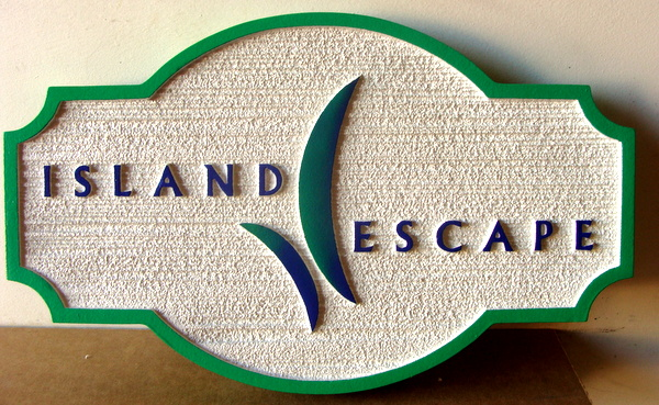 "L21808 - Sandblasted Coastal Residence Sign, ""Island Escape"""