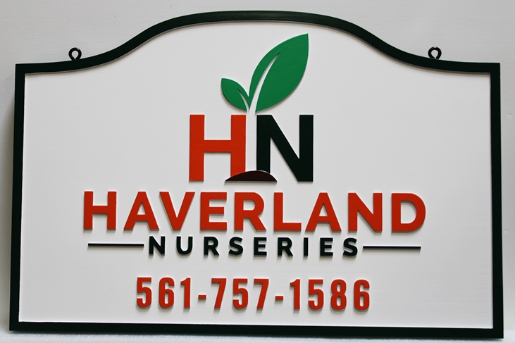S28170 -  Carved Multi-level Sign Made for Haverland Nurseries, with Its Logo as Artwork