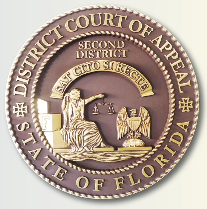A10857 - Carved Courtroom Wall Plaque  for the District Court of Appeal of the State of Florida, 3-D Bas-Relief, Brass-Plated with Hand-Rubbed Bronze Paint in Background Areas
