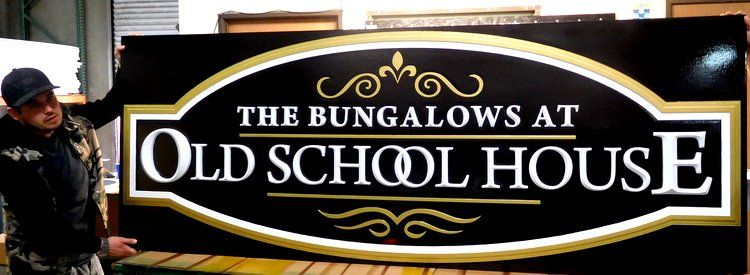 "M5214 - Carved 2.5D ""Bungalows at Old Schoolhouse""  Entrance Sign"