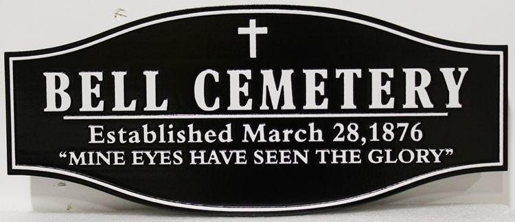 "GC16275 - Carved 2.5-D  High-Density-Urethane (HDU) ""Bell Cemetery"" Entrance Sign"