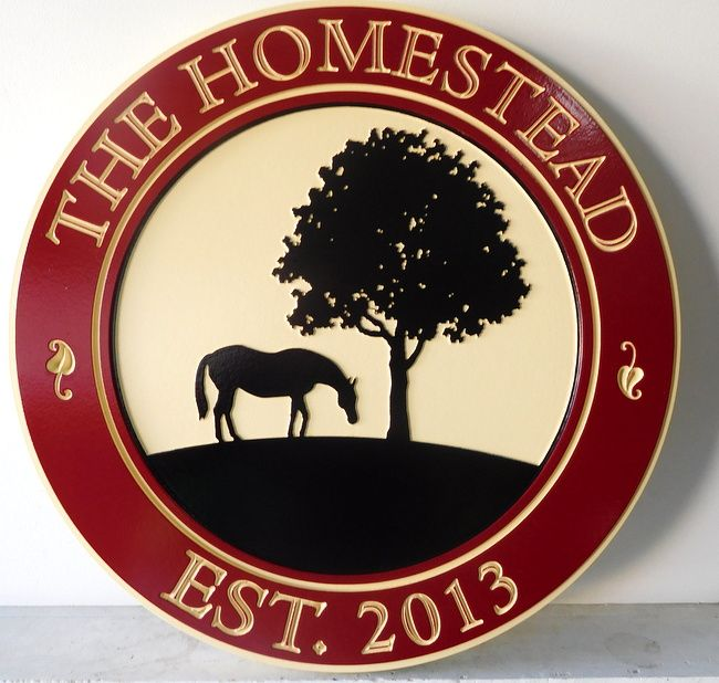 """P25096 - Engraved HDU  Farm Sign, """" The Homestead""""  with Silhouette of Tree and Horse Grazing"""